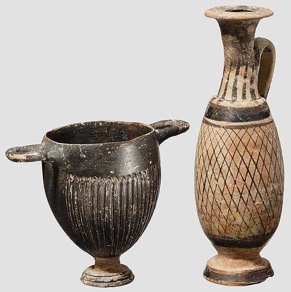 Zwei apulische Keramiken, großgriechisch, Skyphos und Lekythos, 3. Jhdt. v. Chr.
