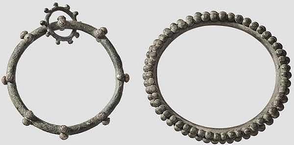 Zwei keltische Noppenringe aus Bronze, 4. - 2. Jhdt. v. Chr.
