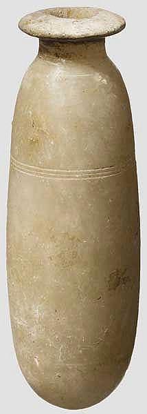 Salbgefäß aus weißem Alabaster, altägyptisch, Spätzeit, mittleres Drittel 1. Jtsd. v. Chr.