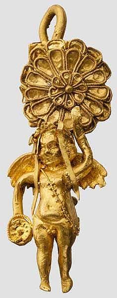 Hellenistischer Goldohrring mit Erot, 4. - 3. Jhdt. v. Chr.