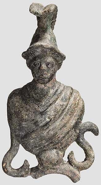 Bronzene Applik mit Marsbüste, römisch, 2. - 3. Jhdt.