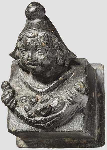 Bronzeapplik mit orientalisierender Jünglingsbüste, römisch, 2. - 3. Jhdt.