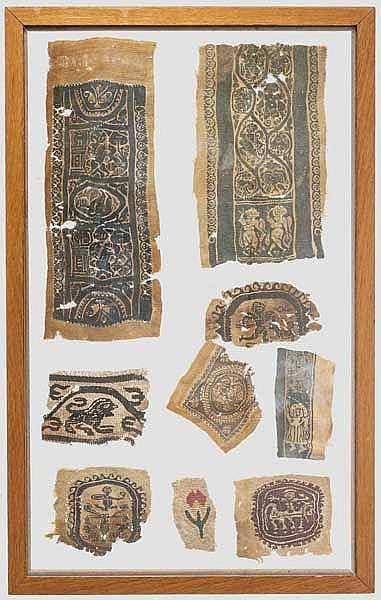 Neun spätantike Textilapplikationen mit figürlichen Darstellungen, 5. - 7. Jhdt.