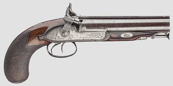 A double-barrelled Howdah percussion pistol, Joseph Manton, London, circa 1820, 1st weapon of the set