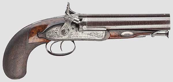 A double-barrelled Howdah percussion pistol, Joseph Manton, London, circa 1820, 2nd weapon of the set