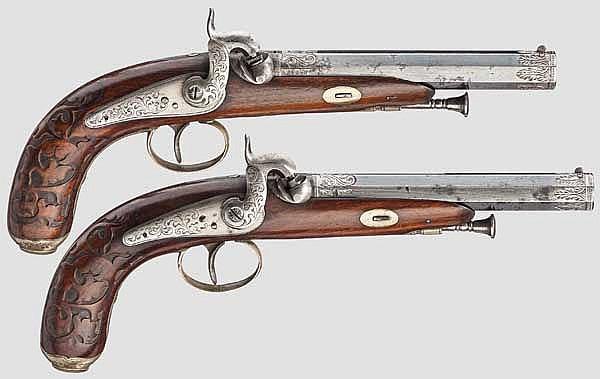 Ein Paar Perkussionspistolen, deutsch(?) um 1860