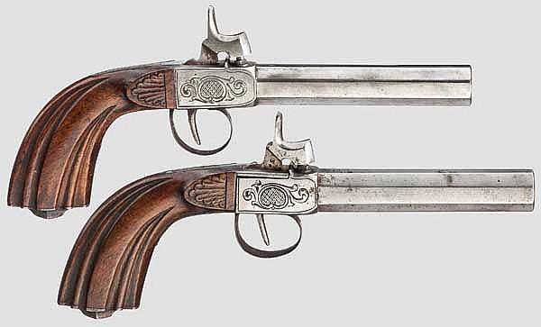 Ein Paar Perkussions-Terzerole, deutsch(?) um 1860
