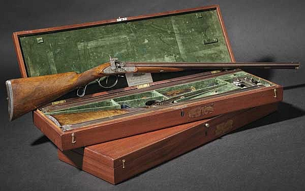 A pair of percussion side-by-side shotguns with interchangeable barrels in their case, Carl Philipp Crause, Herzberg, circa 1830, manufactured for the Duke of Cambridge, Viceroy of Hanover (1774 - 1850)