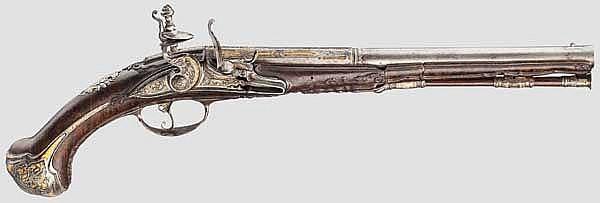 A fine chiselled long flintlock pistol, Filippo Moretti, Brescia circa 1700