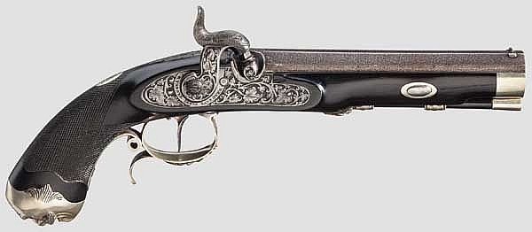 A luxury percussion pistol formerly owned by King Ernst August of Hanover, circa 1858