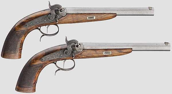 Ein Paar Perkussionspistolen im Kasten, Rasch in Braunschweig, um 1850