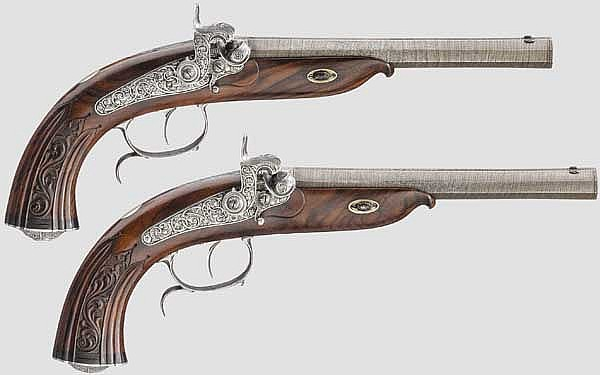 A pair of cased percussion target pistols, Morgenroth in Gernrode circa 1840/50