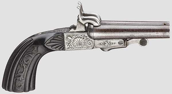 Doppelläufige Stiftfeuer-Pistole, Belgien um 1860