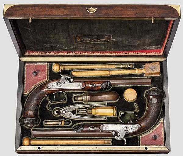 A cased pair of percussion pistols, Henry Le Page, Paris, dated 1830