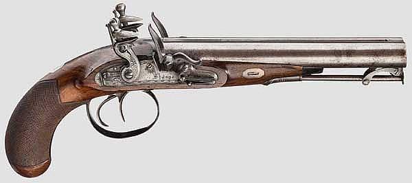 Doppelläufige Steinschlosspistole Sharpe, London um 1820