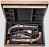 Ein Paar frühe Perkussionspistolen im Kasten, Carl Philipp Crause, Herzberg um 1820/25