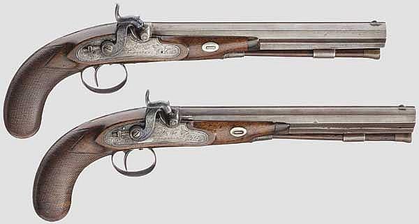 Ein Paar Perkussionspistolen im Kasten, Simmons in Birmingham, um 1810
