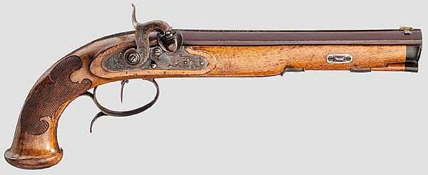 Perkussionspistole, F. Jung und Söhne in Suhl um 1840