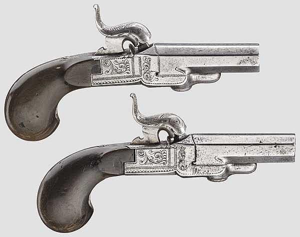 Ein Paar Hinterlader-Perkussionsterzerole, Perin LePage in Paris um 1830