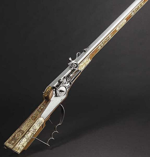 A German wheellock rifle with rich bone veneer, 2nd quarter of the 17th century