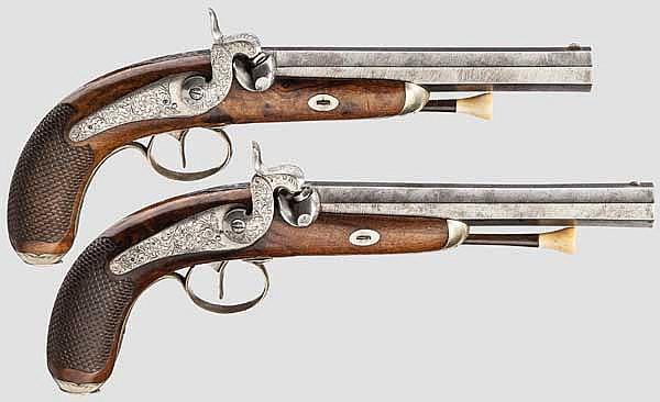 Ein Paar Perkussionspistolen, Lüttich um 1850