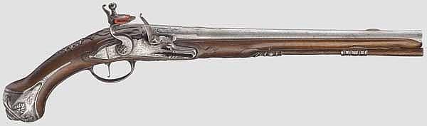 Lange Steinschlosspistole, flämisch oder französisch um 1700/10