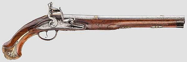 Steinschlosspistole, deutsch um 1730