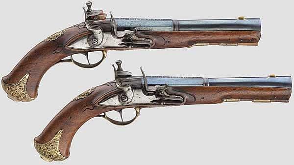 A pair of blunderbuss pistols, Felix Roscher in Karlovy Vary, circa 1740