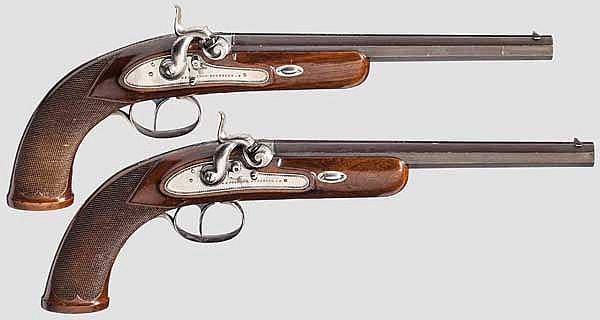 Ein Paar Perkussions-Scheibenpistolen, C. Störmer in Herzberg, datiert 1892