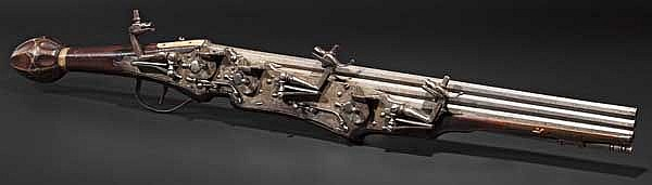 A significant German three-shot wheellock pistol, circa 1610