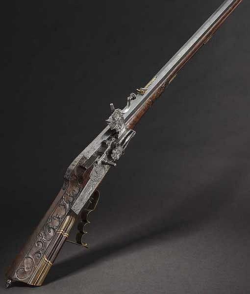 A chiselled wheellock rifle, Joseph Kuchenreuter, Regensburg circa 1730