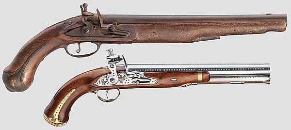 Zwei Steinschlosspistolen, Replikas im Stil des 19. Jhdts.