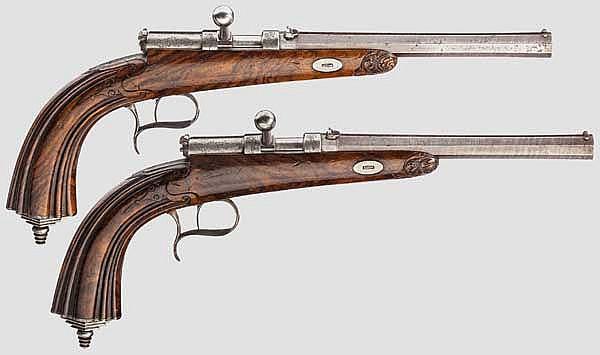 Ein Paar Zündnadelpistolen, C.A. Fischer, Lübeck um 1860