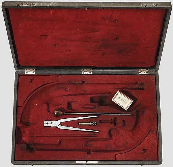Kasten für ein Paar Perkussionspistolen, 19. Jhdt.