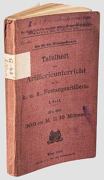 Tafelheft zum Artillerieunterricht - Mörser M 11/16 30,5 cm