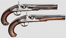 Ein Paar silbermontierte Perkussionspistolen, Anton Graf, Winterthur um 1780