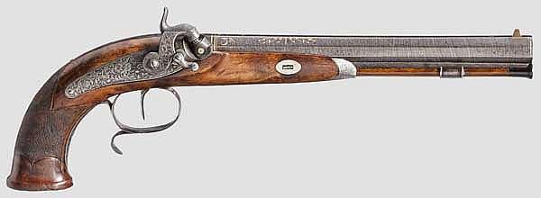 Luxus-Perkussionspistole, C. Crause in Herzberg, um 1840/50
