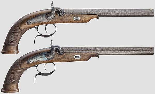 Ein Paar Perkussions-Scheibenpistolen im Kasten, Carl Daniel Tanner in Hannover, um 1850