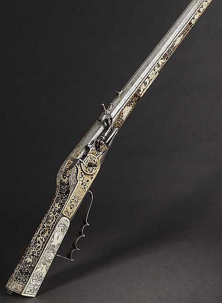 A wheellock rifle, Widemann in Prague, circa 1700