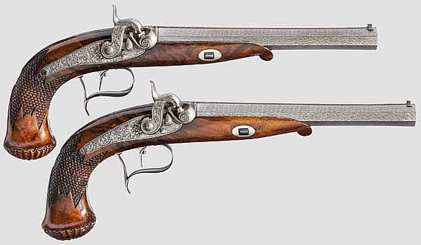 Ein Paar Luxus-Perkussionspistolen, C.L. Westphal in Peine, um 1850