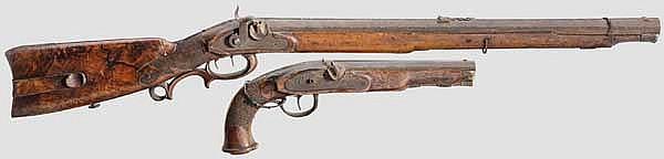 Eine Perkussionsbüchse und eine -pistole, deutsch um 1820