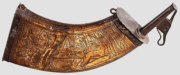 Landsknechts-Pulverflasche, um 1600
