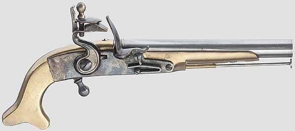 Ganzmetall-Steinschlosspistole, Replika im Stil des 18. Jhdts.