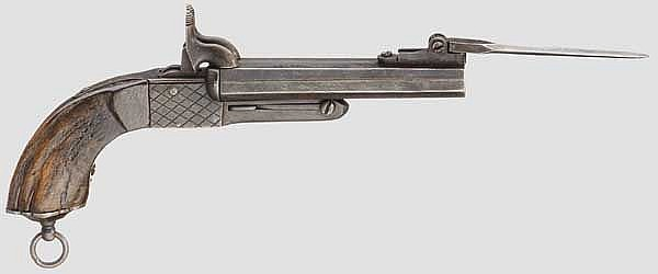 Doppelläufige Stiftfeuer-Pistole mit Springbajonett, um 1860