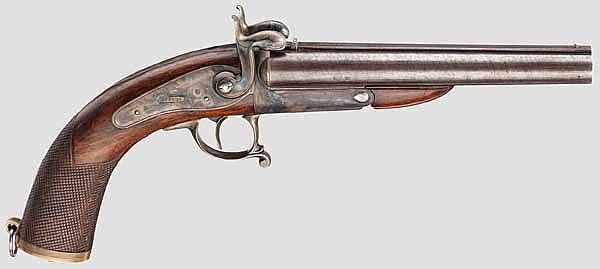 Doppelläufige Stiftfeuer-Pistole, Lebeda in Prag um 1870