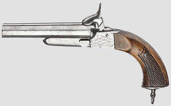 Doppelläufige Stiftfeuerpistole, um 1860