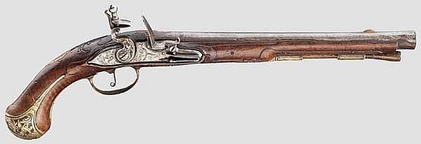 Lange Steinschlosspistole, deutsch(?) um 1740