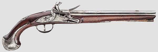 Lange Steinschlosspistole, flämisch um 1740
