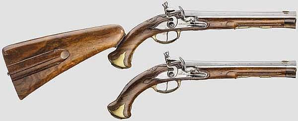 Ein Paar Steinschlosspistolen mit Anschlagschaft, A. Huhnstock in Hannover, um 1780