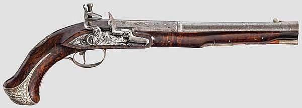 Silbermontierte Luxus-Steinschlosspistole, Tanner in Herzberg um 1740/50